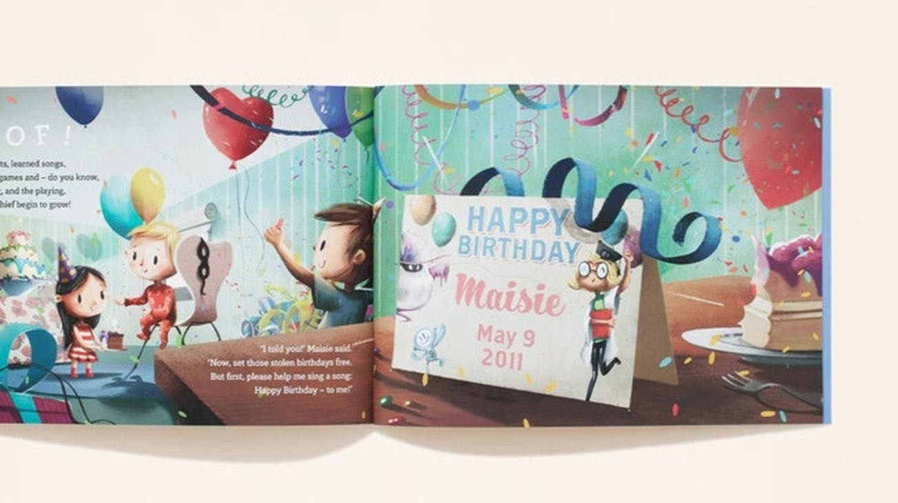 A double page spread of your name written in a personalised card with your date of birth