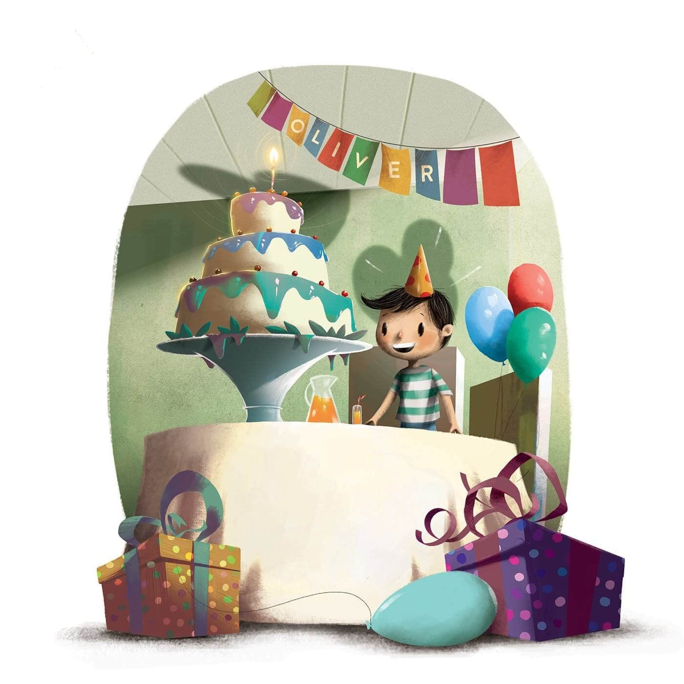 The Birthday Thief Book - Product Description about the character being surrounded by a room full of presents and cake with his name printed on a hanging banner