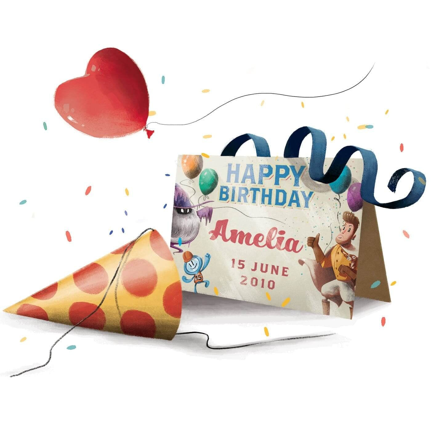 The Birthday Thief Book - Product Description about a personalised card which has your birth months and the characters of that birth date.