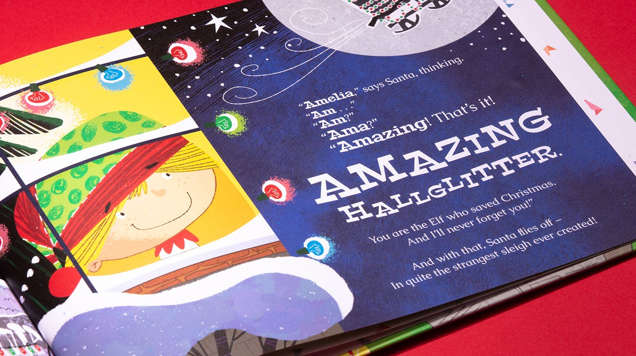 "Elf Who Saved Christmas personalised book page with name ""Amelia"""