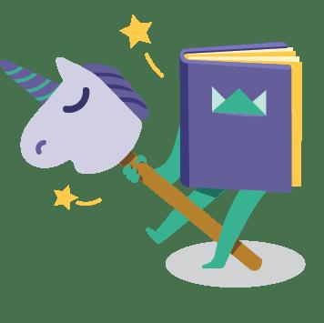 "Icon ""Personalized"" - book and unicorn"