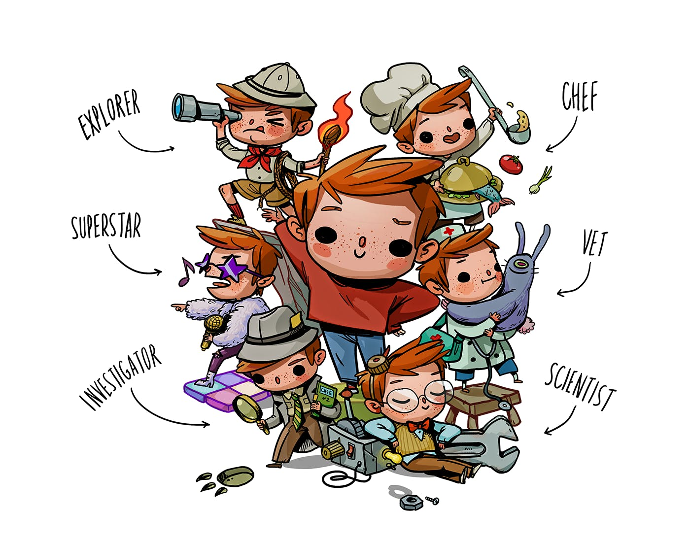 An image of a child as an explorer, chef, superstar, vet, investigator and a scientist